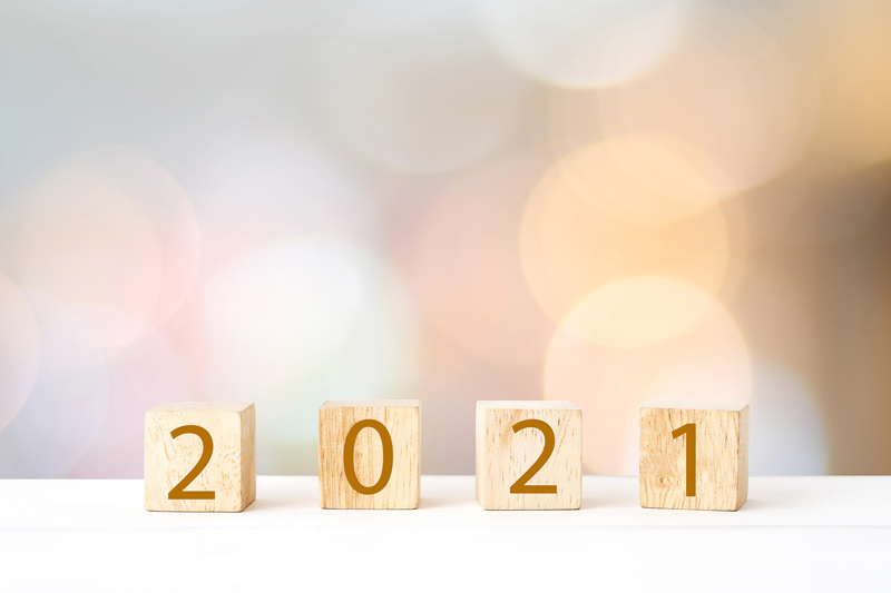 Wooden blocks that spell out 2021